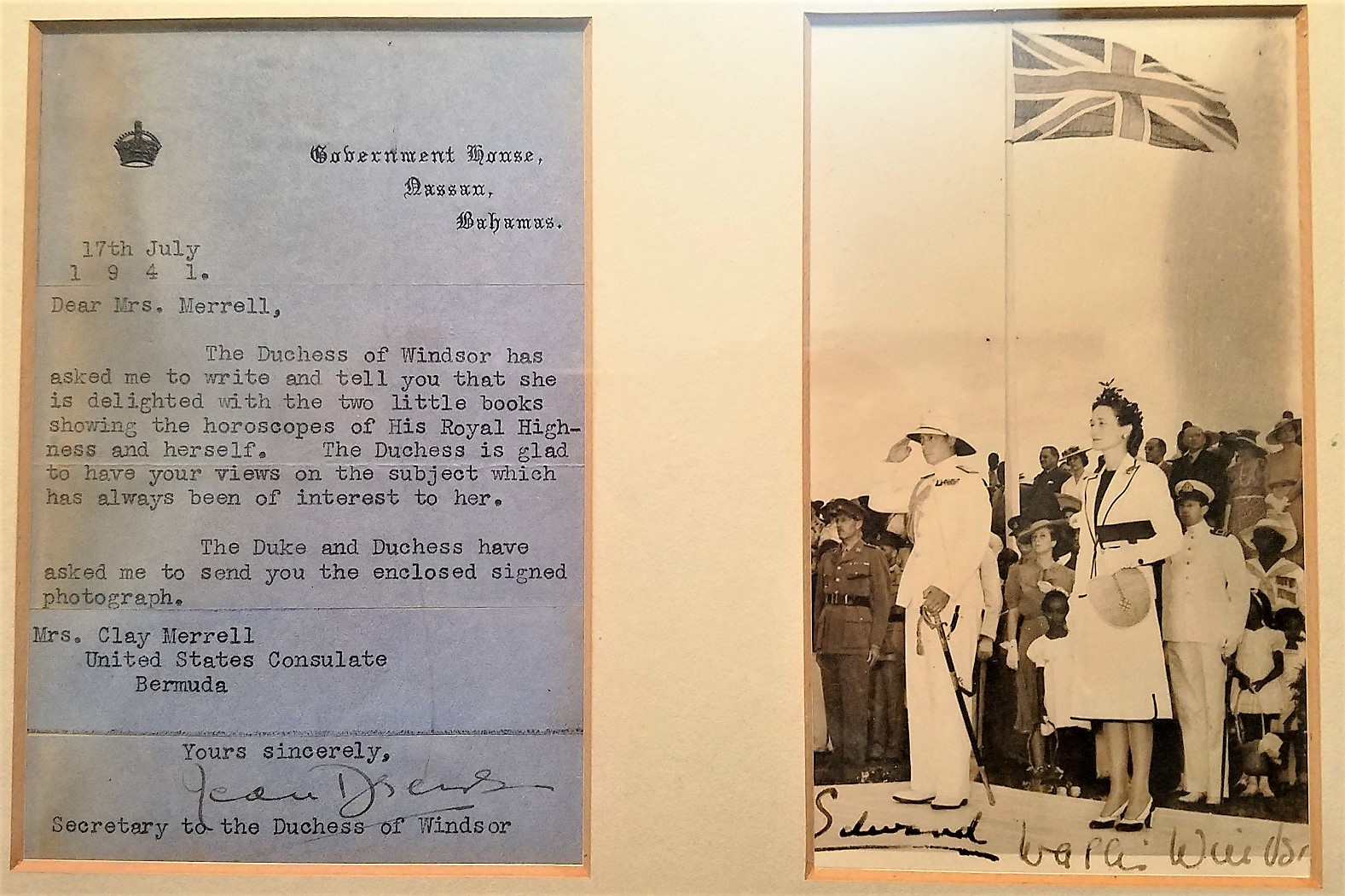 DUKE AND DUCHESS OF WINDSOR ORIGINAL PHOTO AND ASSOCATION LETTER