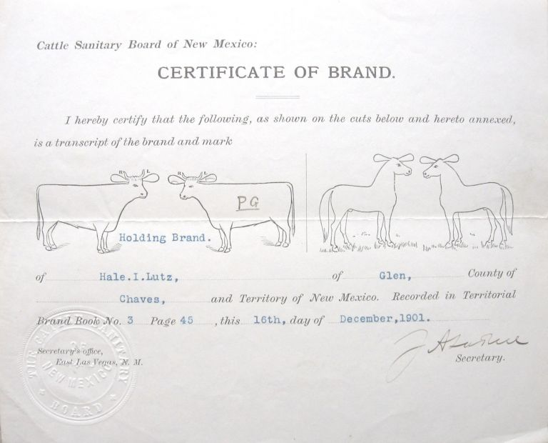 CERTIFICATE OF BRAND, CHAVES COUNTY. New Mexico.