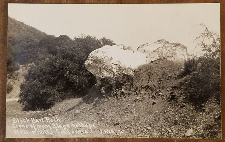 "BLACK BART ROCK Real Photo Post Card (RPPC) ""Scene of many stage holdups Near Willitts California. Black Bart."
