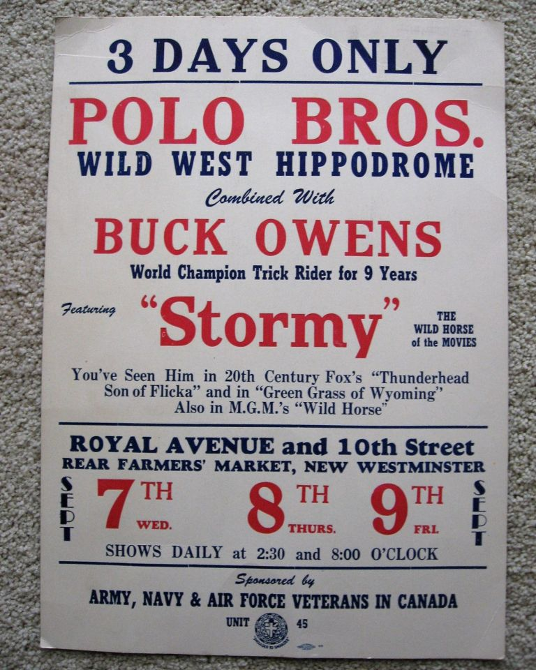 """3 DAYS ONLY POLO BROS. WILD WEST HIPPODROME Combined With BUCK OWENS World Champion Trick Rider for 9 Years Featuring """"STORMY"""" The Wild Horse of the Movies. Broadside, Polo Brothers."""