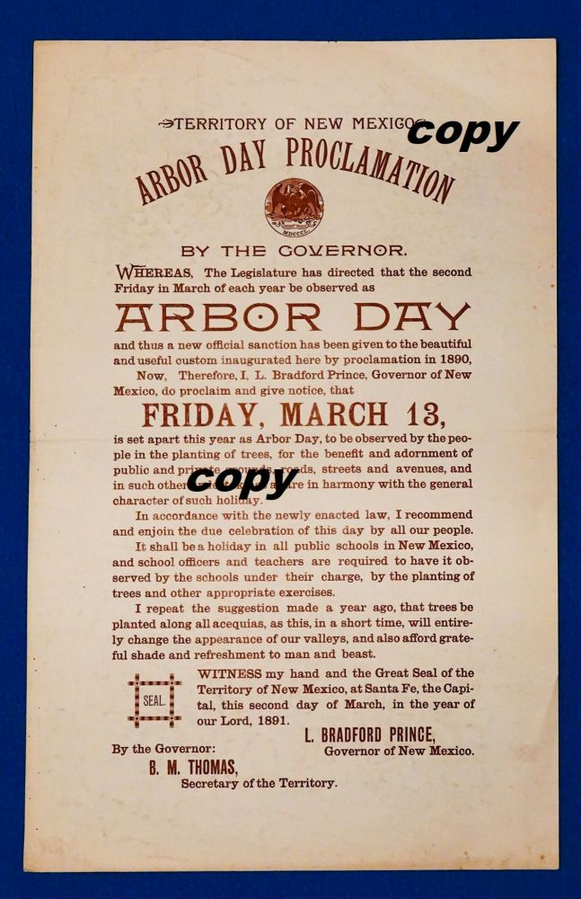 TERRITORY OF NEW MEXICO 1891 ARBOR DAY PROCLAMATION. New Mexico Governor.