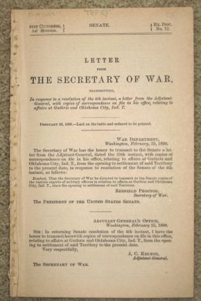 LETTER FROM THE SECRETARY OF WAR, transmitting, In response to a resolution ... relating to...